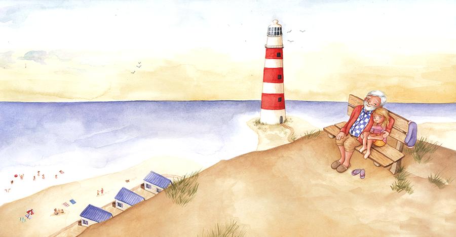 Illustratie uit Een golfbreker in de zee